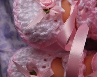 Pink and White Handmade Baby Booties Crochet