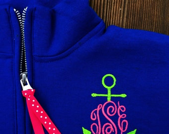 Custom YOUTH Embroidered Monogrammed 1/4 Zip Sweatshirt Pullover - Monogram Quarter Zip Sweatshirt - Monogram 1/4 Zip Sweatshirt Popover