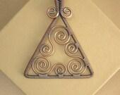 Copper Wire Wrapped Filagree Triangle Pendant Necklace