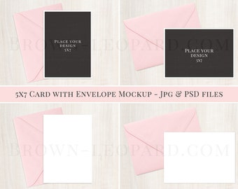 5x7 Card and Envelope Mockup - (51); styled stock photography; invitation mockup, jpg & psd files
