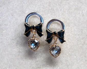 Navy Blue Bowknot Dangle Plugs Handmade Flesh Tunnel Wedding Gauges Rhinestone Ear Expander Jelly Color Crystals
