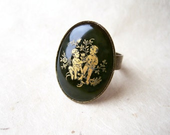 Gemini Zodiac Ring, May Birthday Jewelry, Black and Gold, Vintage Ring, Gemini Astrology Ring, June Birthday Gifts, Rare Astrological Ring