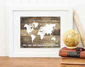 Travel Nursery Print, World Map Art Print, Adventure Poster, Faux Wood Print, Baby Shower Gift, Playroom Wall Art, Rustic Nursery Decor