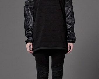 Unisex Black fur sleeve sweatshirt