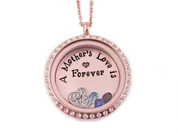 Hand stamped jewelry rose gold charm locket mother s necklace