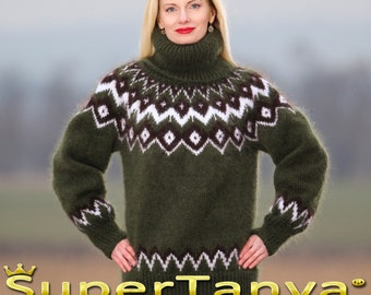 Made to order Icelandic hand knit mohair super fuzzy sweater in green by SuperTanya