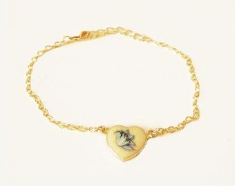 Vintage Blue Floral Heart Bracelet