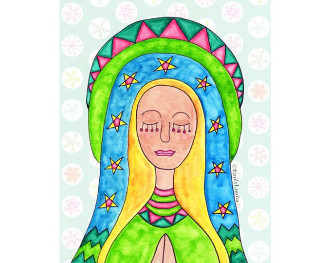 "Painting / Art Print / Holy Mother / Guadalupe / Virgin Mary / Mexican American Folk Art / Mother's Day / Spiritual Peace ""SKY"" / Watercolor"