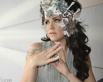 Metal,Pewter,Petals,flowers,Crown,Fascinator,Headdress,Headpiece,Fairy,Hat,Fascinator,Crown,Metallic