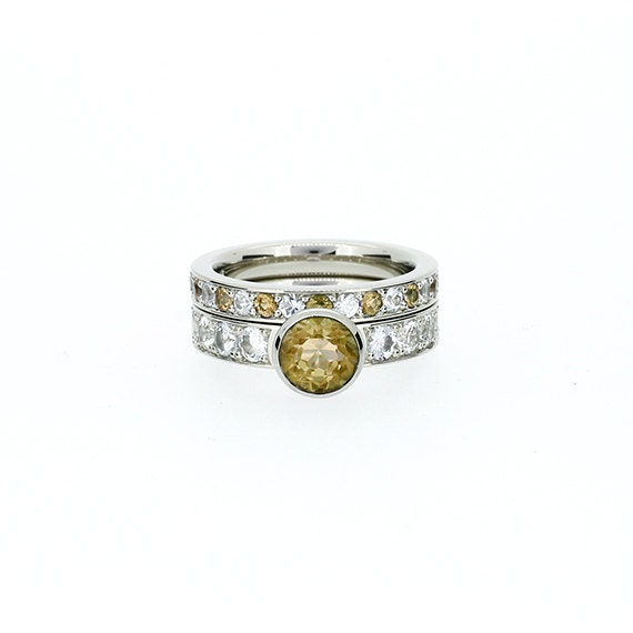 Items Similar To Citrine And Diamond Engagement Ring Set Bezel Solitaire Yellow Engagement
