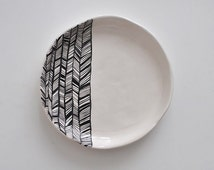 BW white ceramic plate with black abstract ornament abstract native indian pattern contemporary minimalism style black and white