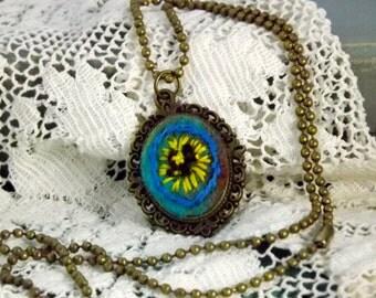 Fiber Art Pendant - Sunflower