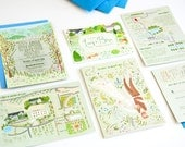 Woodland Wonderland custom illustrated wedding stationery - invite, save the date, rsvp and map