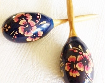Vintage Shabby Chic Sapphire Blue Floral Maracas, Romantic Home, Olives and Doves