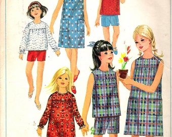 Vintage 1966 Simplicity 6516 Girl's One Piece Dress or Overblouse & Shorts Sewing Pattern Size 8 Breast 26""