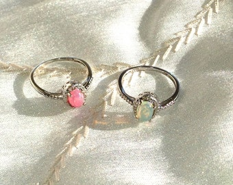 Pink or White Opal Ring or Engagement Ring in Platinum Handmade Jewellery by NorthCoastCottage Jewelry Design