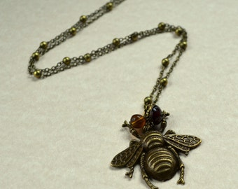 Bee Boho Chic Necklace Antique Bronze 3D Large Fashion Jewelry Bohemian Huge Honey Bumblebee Honeybee Insect PaisleyBeading FREE Shipping