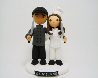 Chef couple Custom wedding cake topper