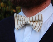 SALE! Cream & Brown Clip-On Bow Tie Pinstriped - Pre-Tied Bow Tie with Vintage Fabric.