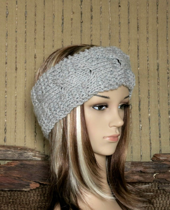 Headband Chunky Knit Cable Head Wrap Womens Grey Ear Warmer