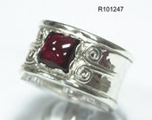 Beautiful 925 Sterling Silver Red Garnet Stone Ring Art Womens Fashion Vintage, silver gemstone band, silver garnet ring, red garnet jewelry