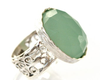 Fabulous Antique Filigree Solid 925 Silver Band Ring Jade Artisan New Size 5 6 7 8 9, silver jade ring, green stone ring, silver green ring