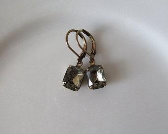 Grey Rhinestone Earrings - Elegant Vintage Glass Jewel Dangle Earrings - Antique Brass - Lever back ear wires