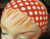 Polkadot Headband Large White Dots - 100% Cotton - Orange