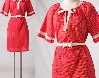Vintage Dress, Vintage Red Dress, Swiss dot Dress, bow tie dress - L/XL/1XL