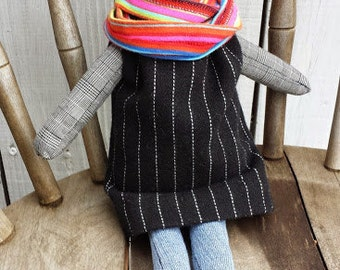 Marley Doll in Black Wool Dress and Pink Striped Scarf