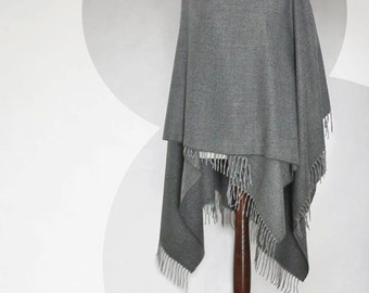 SALE! Women poncho, gray poncho, women cape, gray shawl, gray scarf, gray capelet, fabric poncho, felted flower, modern clothing