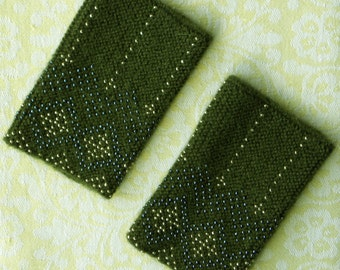 Moss green beaded wrist warmers