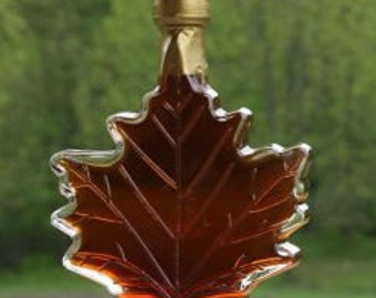 250 ml Glass Maple Leaf - 8.5 oz - Pure Vermont Maple Syrup