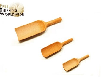 Wooden Measuring Scoop / Shovel SET of 3 all sizes for all kind of flours, cereals or wheats from Beech wood