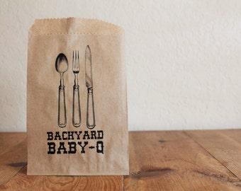 25 BackYard Baby-Q Silverware Pouches- Wedding, Baby Shower, Birthday Party, BBQ