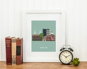 Boston City Print, Boston Wall Art, Boston Skyline Print, Boston Home Decor, Fenway Park, Gifts For Him, INSTANT DOWNLOAD