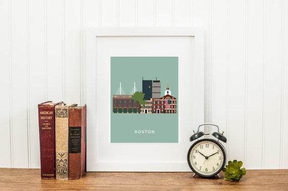 Boston City Print, Boston Wall Art, Boston Skyline Print
