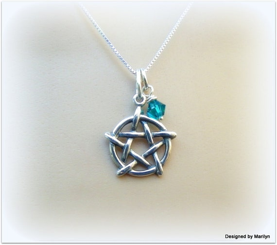 Sterling silver pentagram necklace, birthstone necklace, leather necklace, mens and ladies necklace
