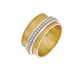 Rotary ring, 333 band ring yellow gold + 925 Silver