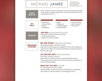 Male Resume Word Document - Instant Download - Manager Template - Easy to Edit - Red/Gray Minimalist Design JAMES