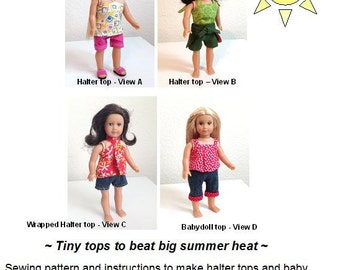 Tiny Tops – American Girl mini doll shirt pattern – fits old and new style AG minis and Our Generation minis too!