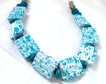 White & Blue Speckled Necklace