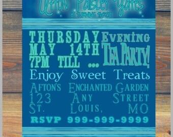 5x7 Custom Enchanted Tea Party Nighttime Glow Lightening Bug Birthday Invitation