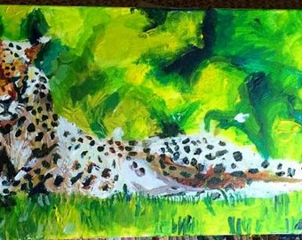 Colourful abstract cheetah limited edition impressionism fine art print green grass lying down two cheetahs cat feline animal golden