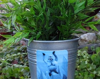 BUMBLE Snow Monster, galvanized metal silver planter pot, Abominable, Rudolph the Red Nosed Reindeer, Misfit Toys