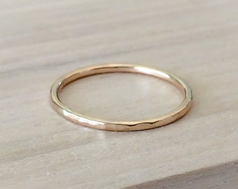 Gold Ring, 14k Gold Filled Stacking Ring, Minimalist Jewelry, Hammered Stacking Ring, Gold Stackable rings, Etsy Gift Ideas, Boho Jewelry