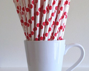 Red Polka Dot Paper Straws Party Supplies Party Decor Bar Cart Cake Pop Sticks Mason Jar Straws Graduation