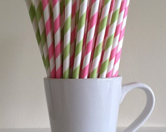 Pink and Green Striped Paper Straws Pink and Light Green Party Supplies Party Decor Bar Cart Cake Pop Sticks  Party Graduation