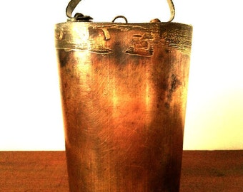 Early brass Cowbell Cow Bell circa '1920' - Measures 6 & 1/2 inches tall. Please see all Photos