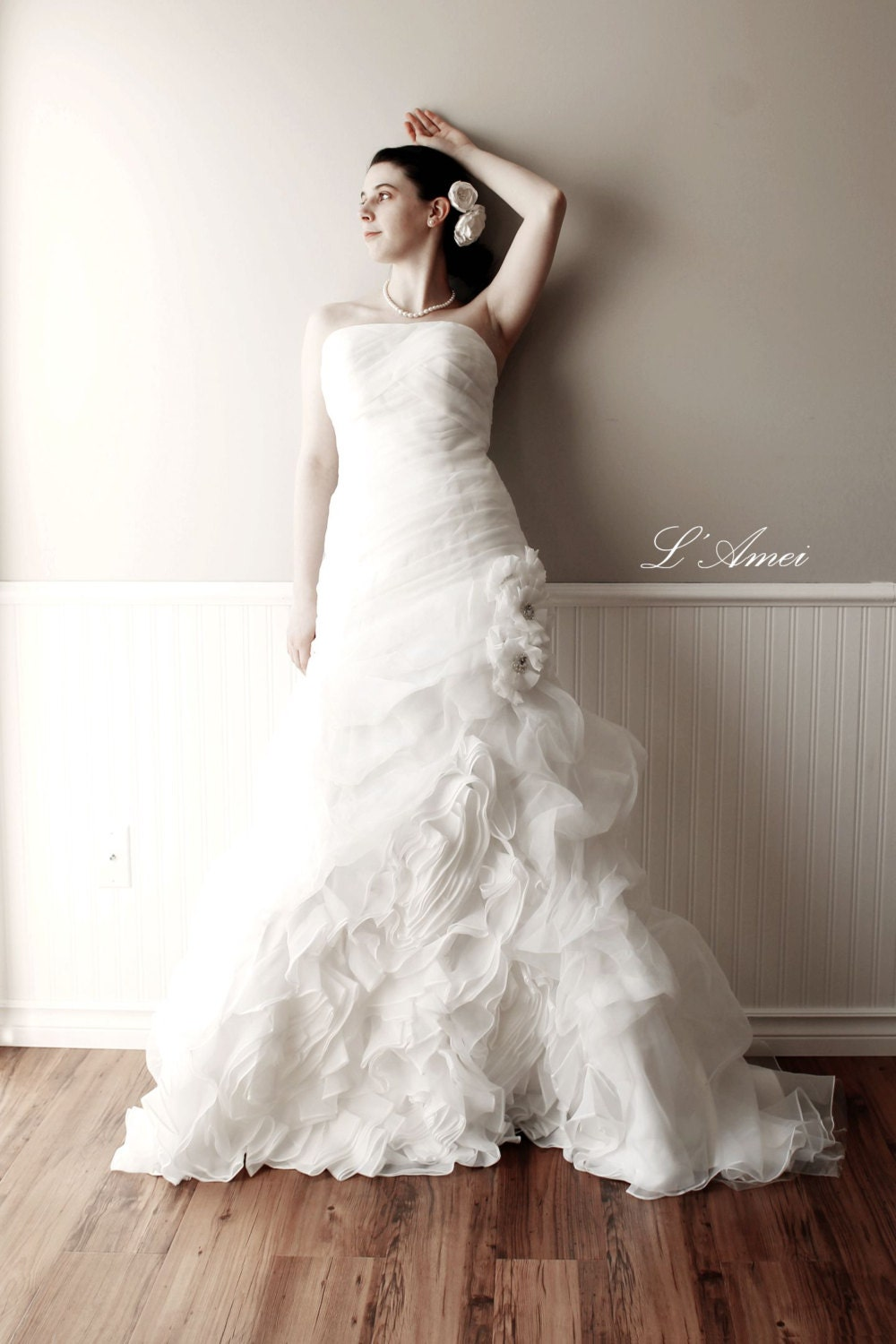 Black Wedding Dress With Train : Organza flower mermaid wedding gown bridal dress with puffy train